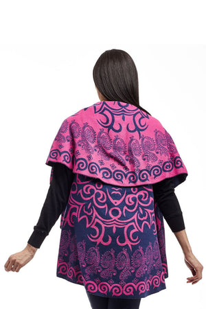 La Cera Swirl Patterned Shawl Poncho