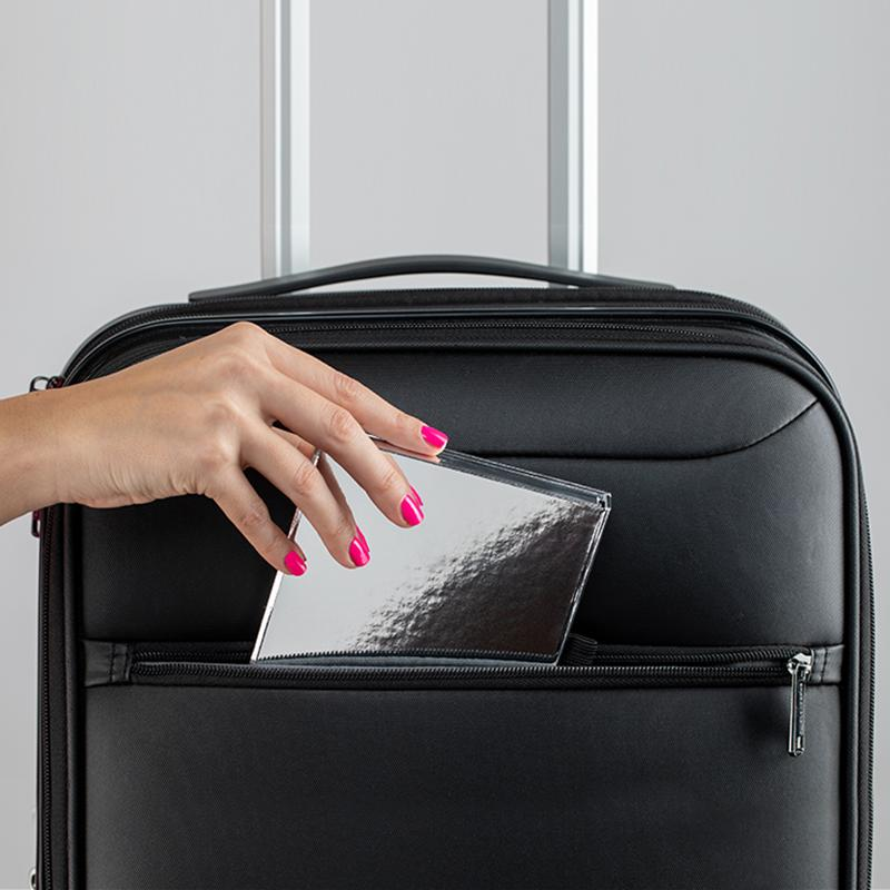 The Fold Out Face palette closed sliding into suitcase is great for travel