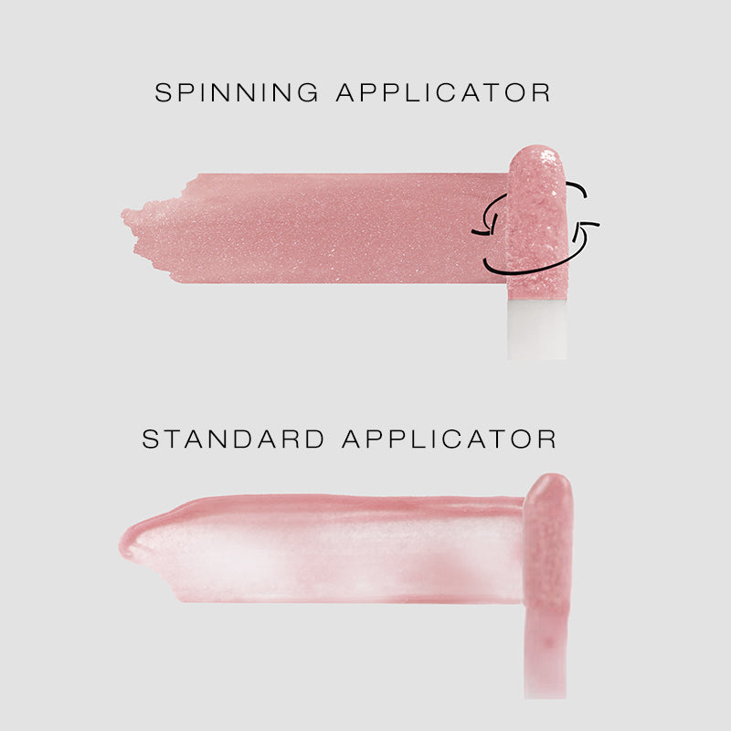 spinning applicator vs standard applicator coverage showing that the spinning applicator rolls on your lip gloss fully rather than streaky