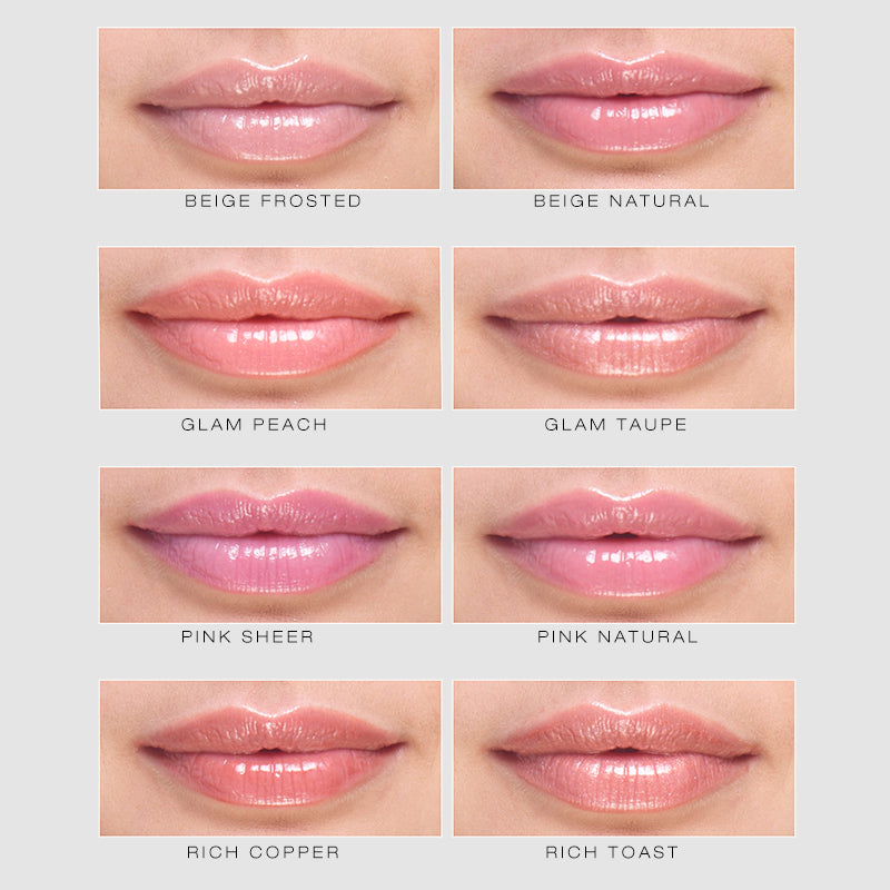 spin on lip gloss shade finder showing all eight lip glosses on lips