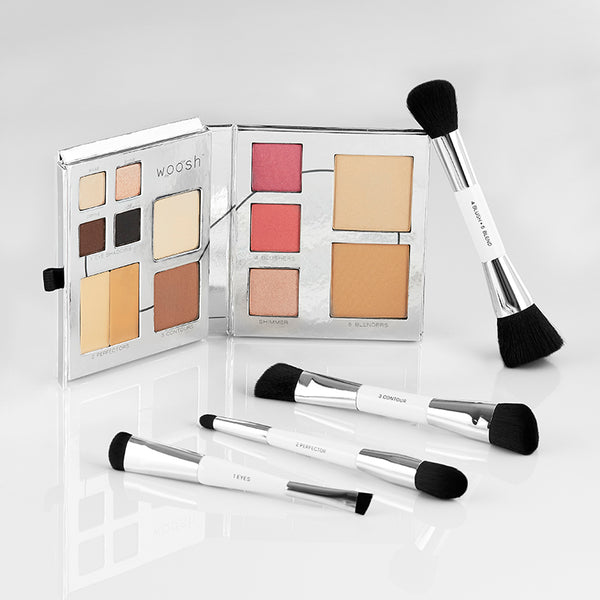 Fold Out Face palette open to see all 13 cosmetics with 4 dual-ended essential brush set
