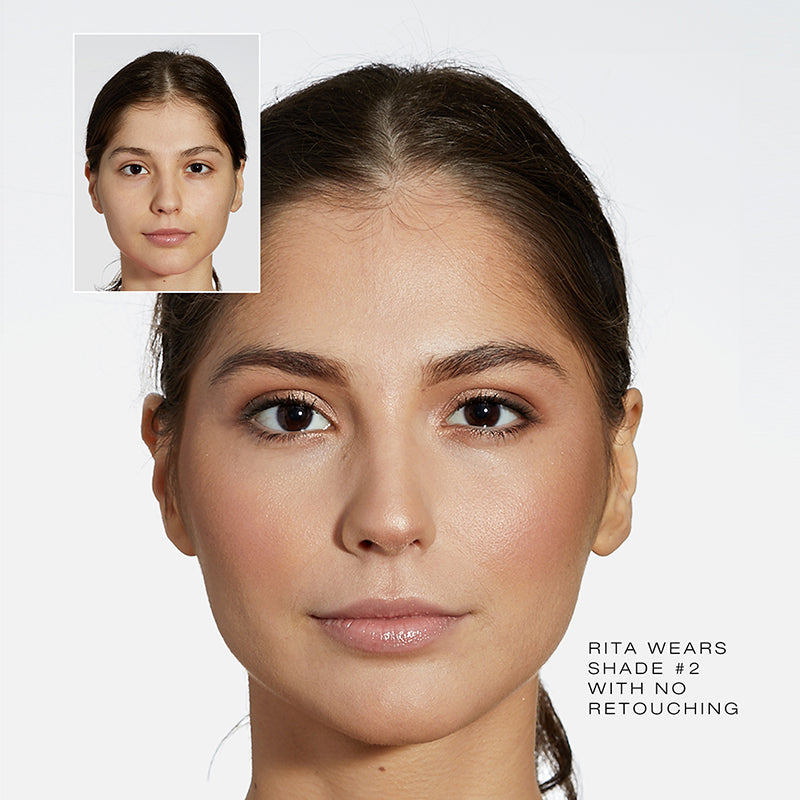 Fold Out Face Shade #2 before and after of model, Rita.