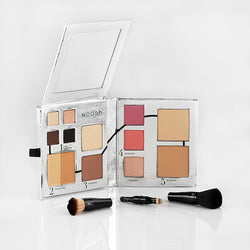 Fold Out Face palette open to see all 13 cosmetics and mirror.  Also 4 piece secret brush set.