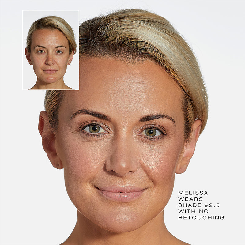 Fold Out Face Shade #2.5 before and after of model, Melissa.