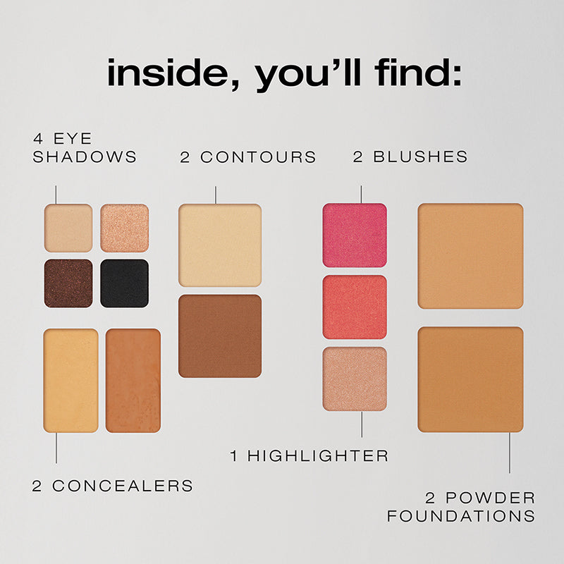 Description of what comes inside the Fold out Face palette - 4 eye shadows, 2 concealers, 2 contour powders, 2 blushes, 2 foundation powders, and 1 highlighter.
