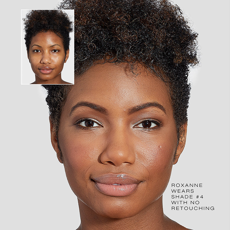 Fold Out Face shade #4 Medium Deep.  Before and After with no retouching
