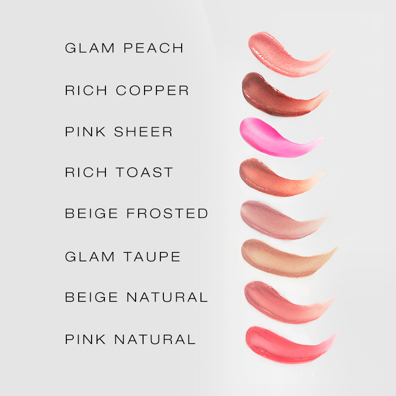 spin on lip gloss shade finder, showing all eight shades and swatches.