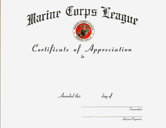 Certificate of Appreciation - Blank