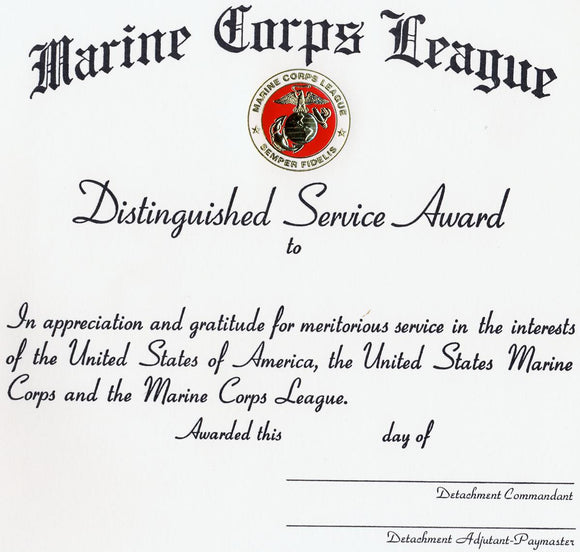 Distinguished Service Award - Detachment Lettered