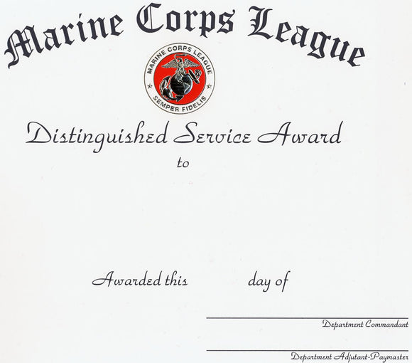 Distinguished Service Certificate - Department Unlettered
