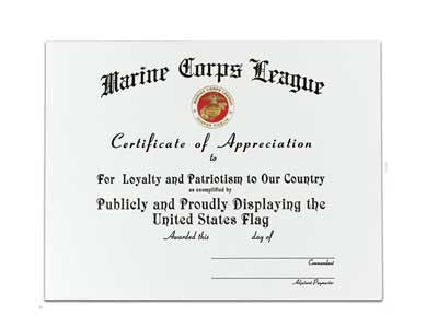 Certificate Of Appreciation~FLAG