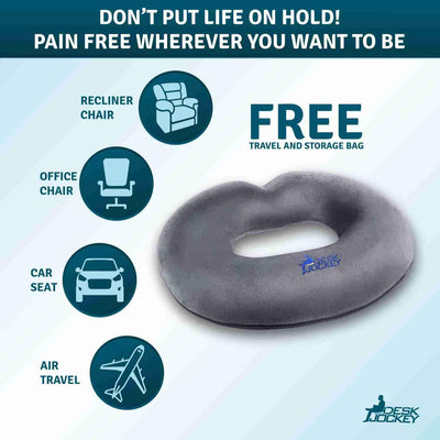 Memory Foam Donut Seat Cushion with Plush Casing