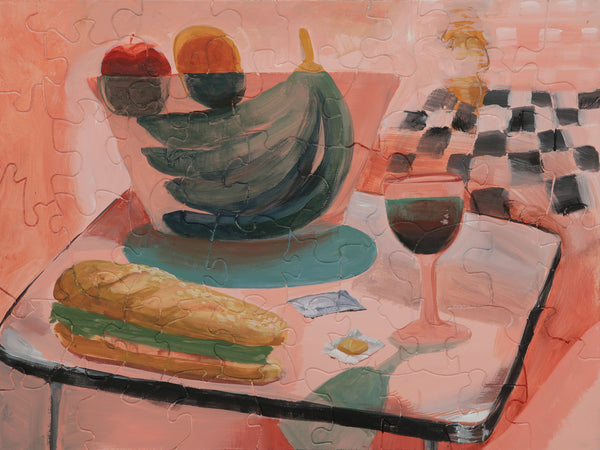 PUZZLE 298 - STILL LIFE WITH WINE GLASS AND SANDWICH