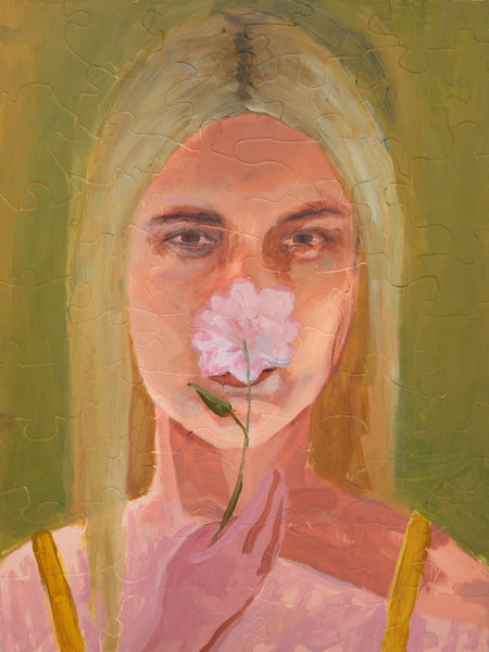PUZZLE 428 - YOUNG WOMAN WITH PINK FLOWER