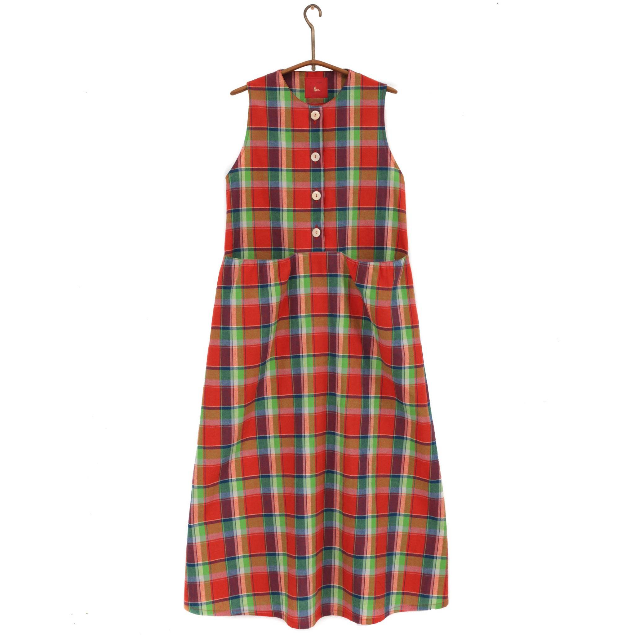 SLEEVELESS DRESS - RED LINEN