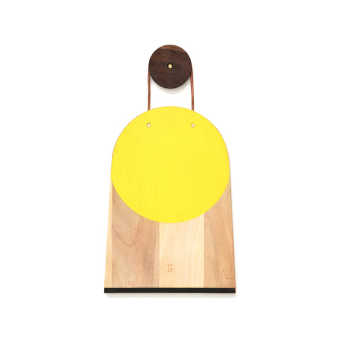 HAND-PAINTED CUTTING BOARD - YELLOW CIRCLE