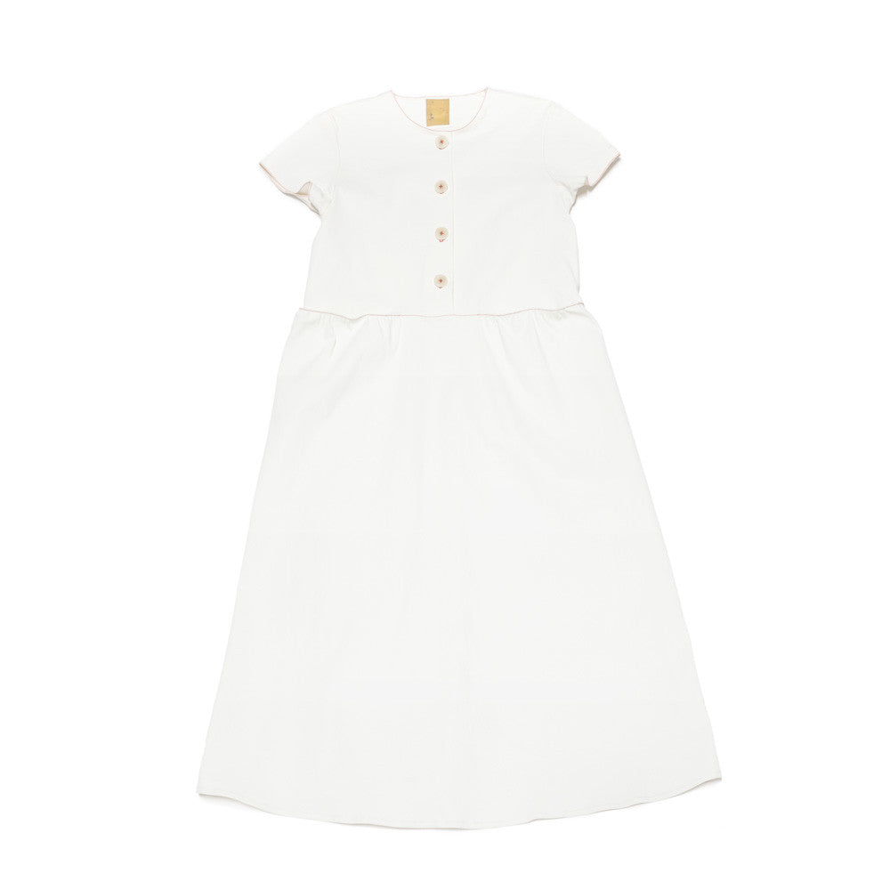 SHORT SLEEVE BUTTON DRESS - WHITE