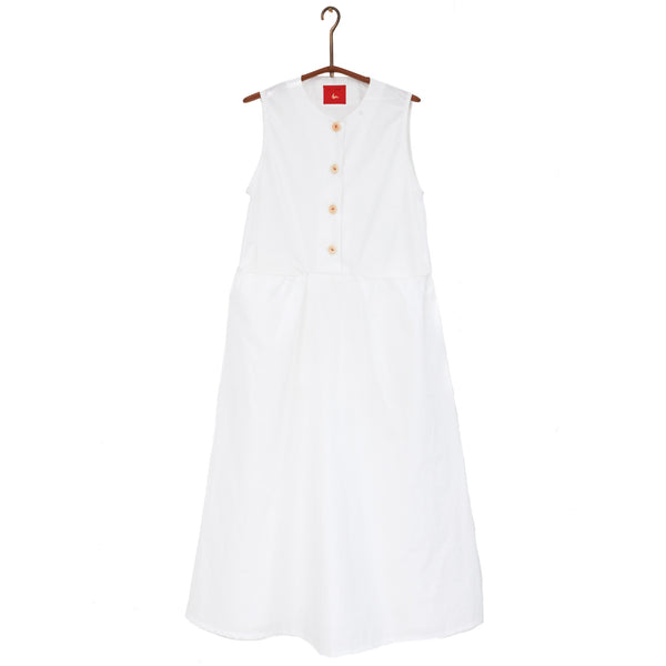 SLEEVELESS BUTTON DRESS - WHITE