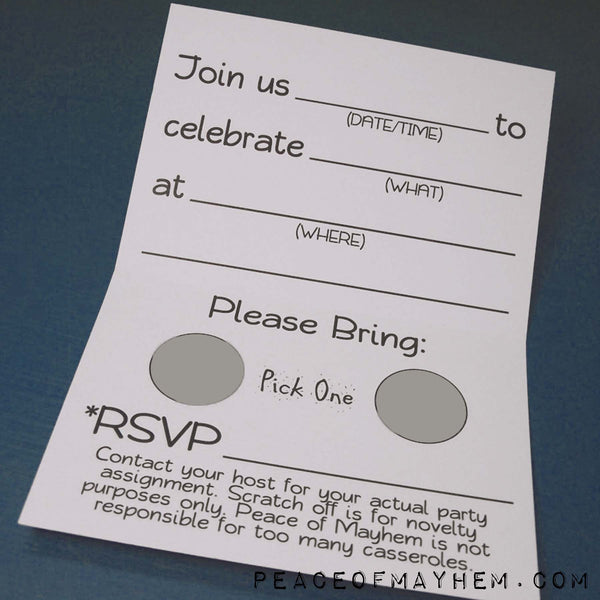 Party Invite inside Adult 12 pack