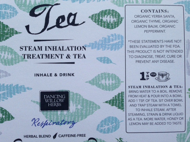 Steam Inhalation and Treatment Tea - Dancing Willow Herbs tea - herbal formulas