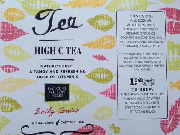 High C Herbal Tea - Dancing Willow Herbs tea - herbal formulas