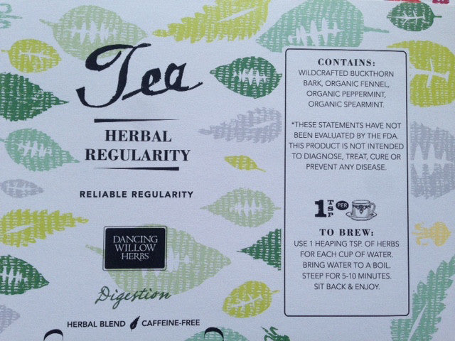 Herbal Regularity Tea - Dancing Willow Herbs herbal tea - herbal formulas