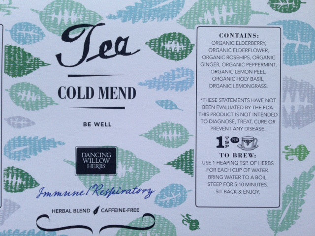 Cold Mend Tea - Dancing Willow Herbs herbal tea - herbal formulas