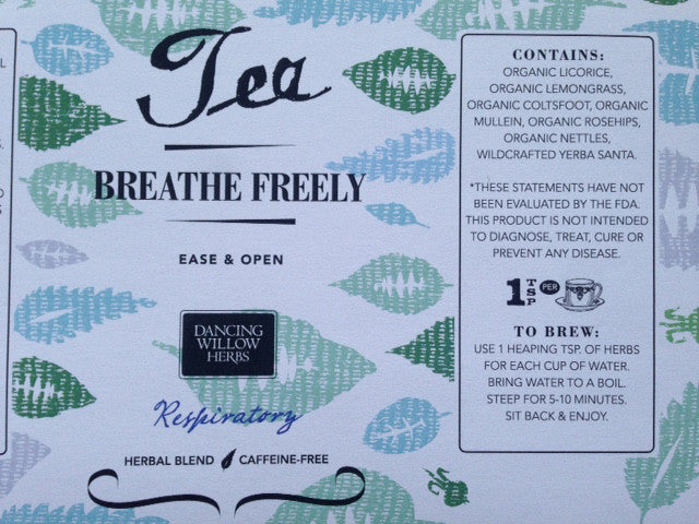 Breathe Free Herbal Tea - Dancing Willow Herbs tea - herbal formulas