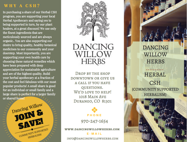 Community Supported Herbalsim SMALL SHARE - Dancing Willow Herbs CSH Community Supported Herbalism - herbal formulas