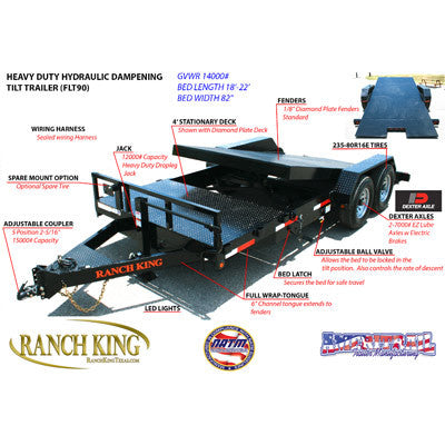 Heavy Duty Hydraulic Dampening Tilt Trailer FLT90 Series