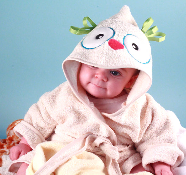 What a Hoot! Owl Gender Neutral Baby Hooded Bathrobe Cover Up