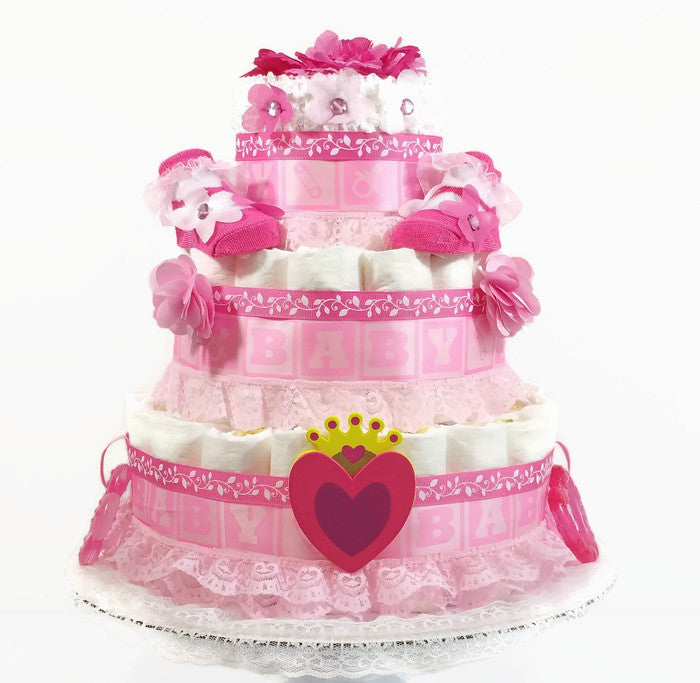 Hearts and Flowers Princess Baby Girl Diaper Cake
