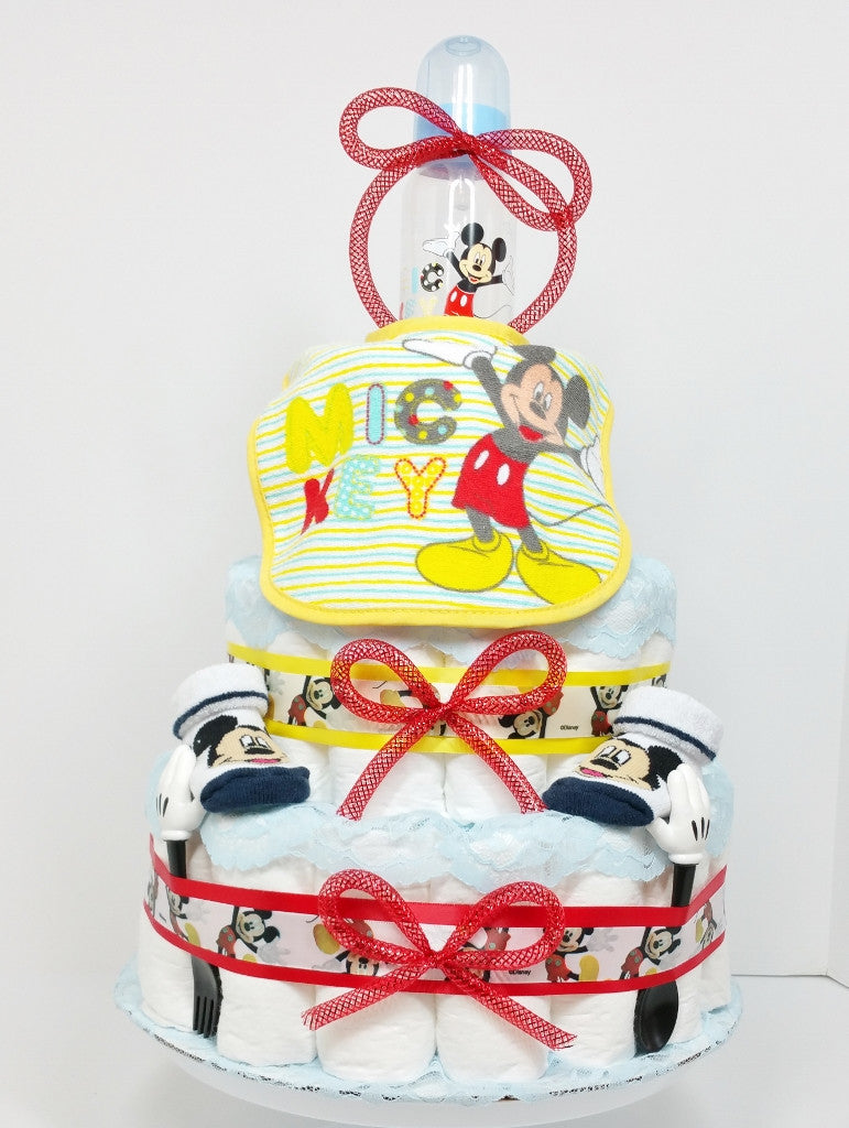 Mickey Mouse Baby Boy Diaper Cake Feeding Time Fun