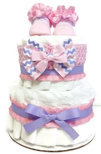 Two Tier Baby Girl Diaper Cake Shower Centerpiece - Pink & Lavender Chevron with Ruffles