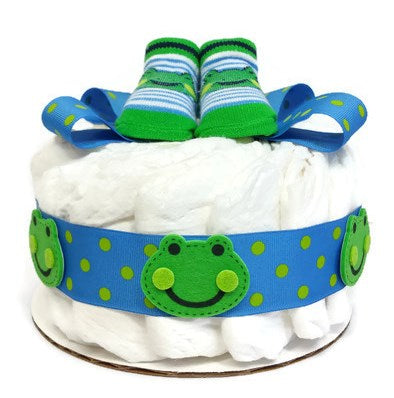 Friendly Frog One Tier Baby Boy Diaper Cake Shower Centerpiece