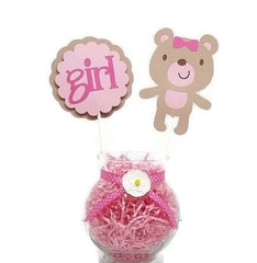 Baby Girl Teddy Bear Cake Toppers Baby Shower Centerpiece Sticks PINK