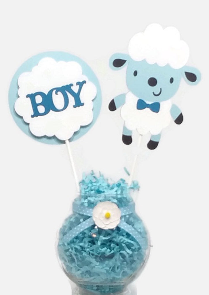 Baby Boy Blue and White Sheep Lamb Cake Toppers Baby Shower Centerpiece Sticks