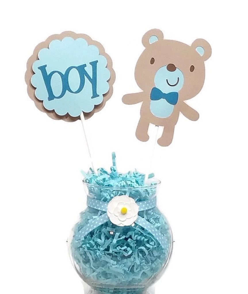 Baby Boy Teddy Bear Cake Toppers Baby Shower Centerpiece Sticks BLUE