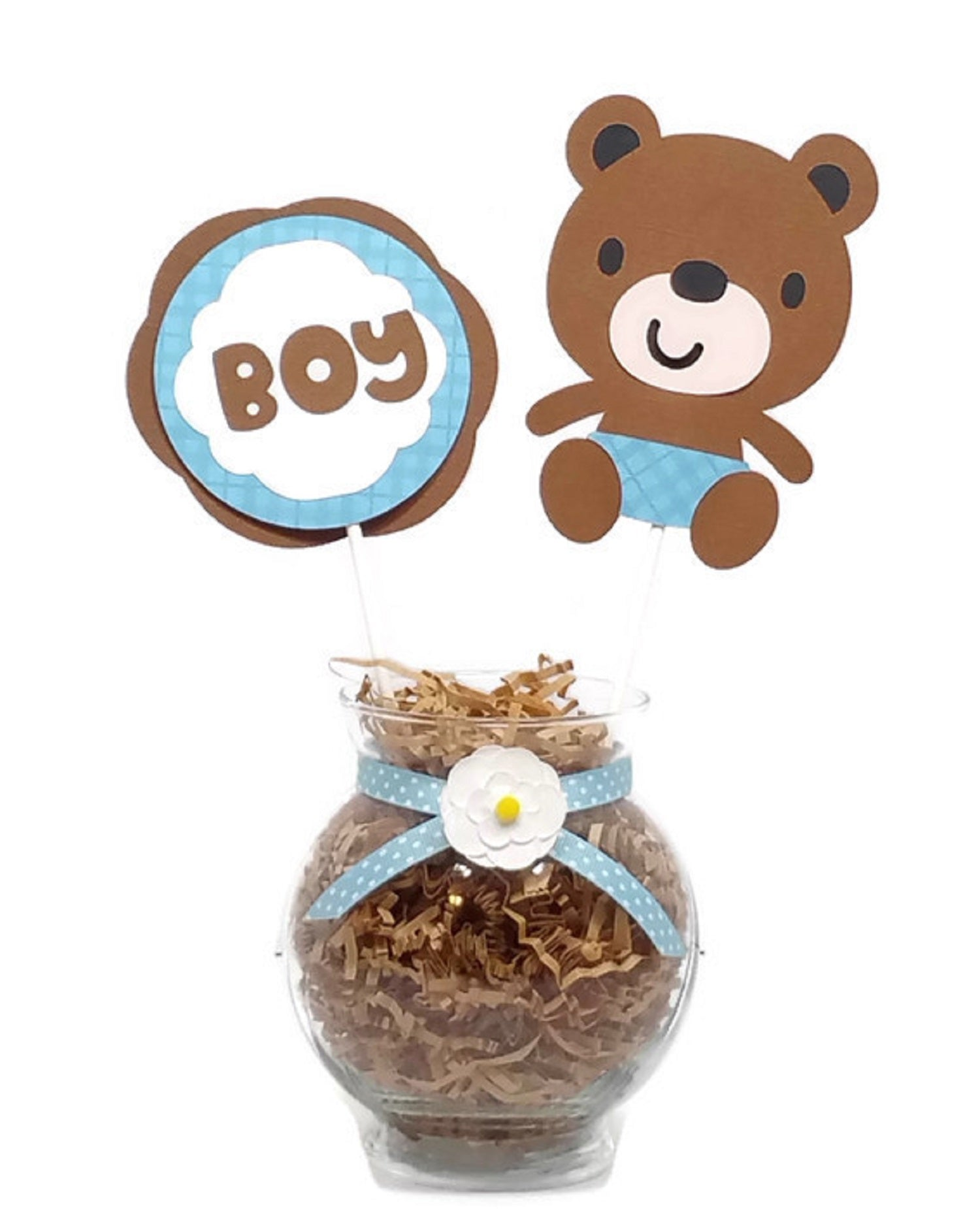 Baby Boy Little Brown Bear Baby Shower Centerpiece Sticks Cake Toppers