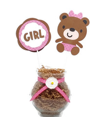 Baby Girl Little Brown Bear Baby Shower Centerpiece Sticks Cake Toppers