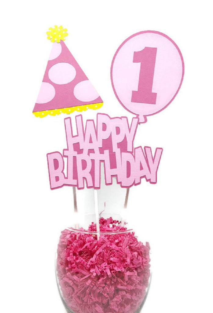 Baby Girl First Birthday Centerpiece Sticks Cake Toppers Pink Party Hat