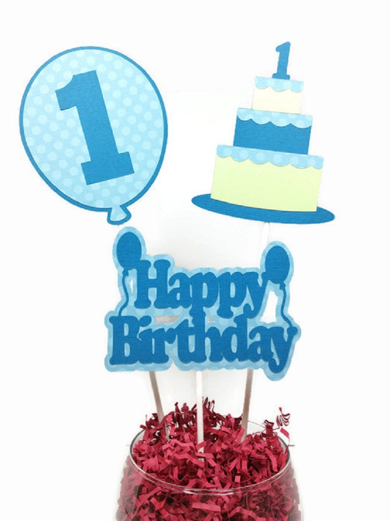 Baby Boy First Birthday Cake Toppers Centerpiece Sticks - Blue & Green Cake