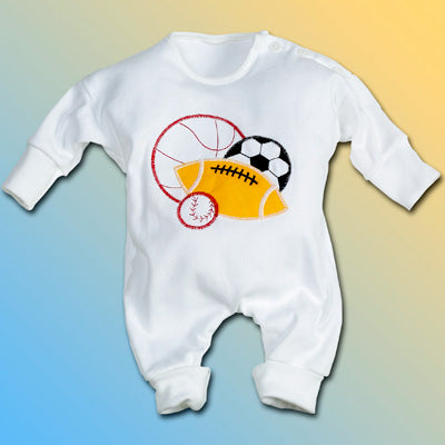 Sports Balls Baby Boy One Piece Outfit With Hat