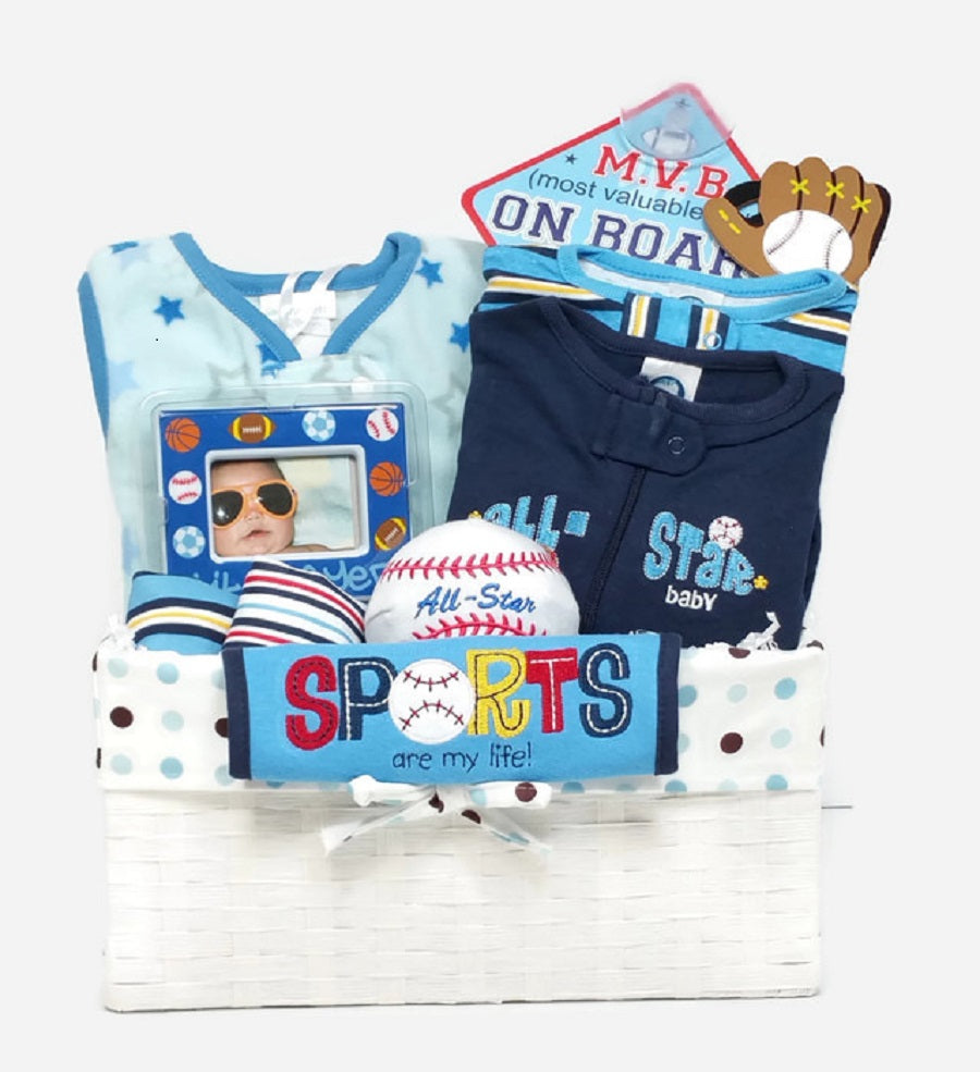 Home Run Baseball Baby Boy Gift Basket