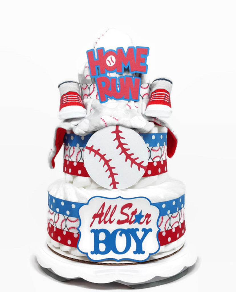 All Star Baseball Diaper Cake For Boy, Baby Shower Centerpiece With Security Blanket, Baseball Themed Baby Diaper Cake - Red White & Blue