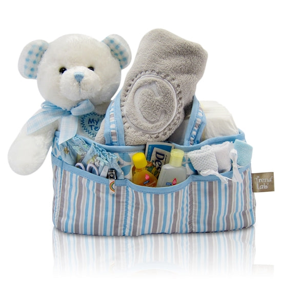 Baby Boy First Teddy Bear Diaper Caddy Tote Gift Basket
