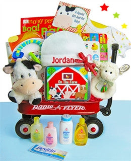 Farm Themed Gender Neutral Baby Gift Basket Radio Flyer Wagon