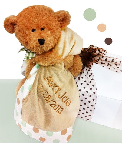 Brown Teddy Bear Plush Blanket Gender Neutral Baby Gift Set
