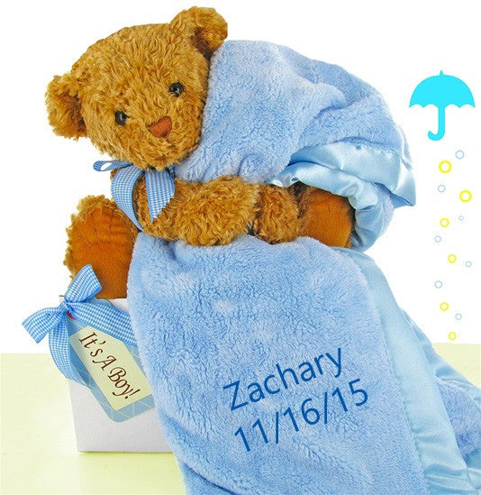 Little Boy Blue Plush Bear & Blanket Baby Boy Gift Set