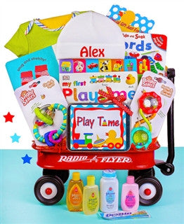Playtime Fun Radio Flyer Wagon Gender Neutral Baby Gift Basket